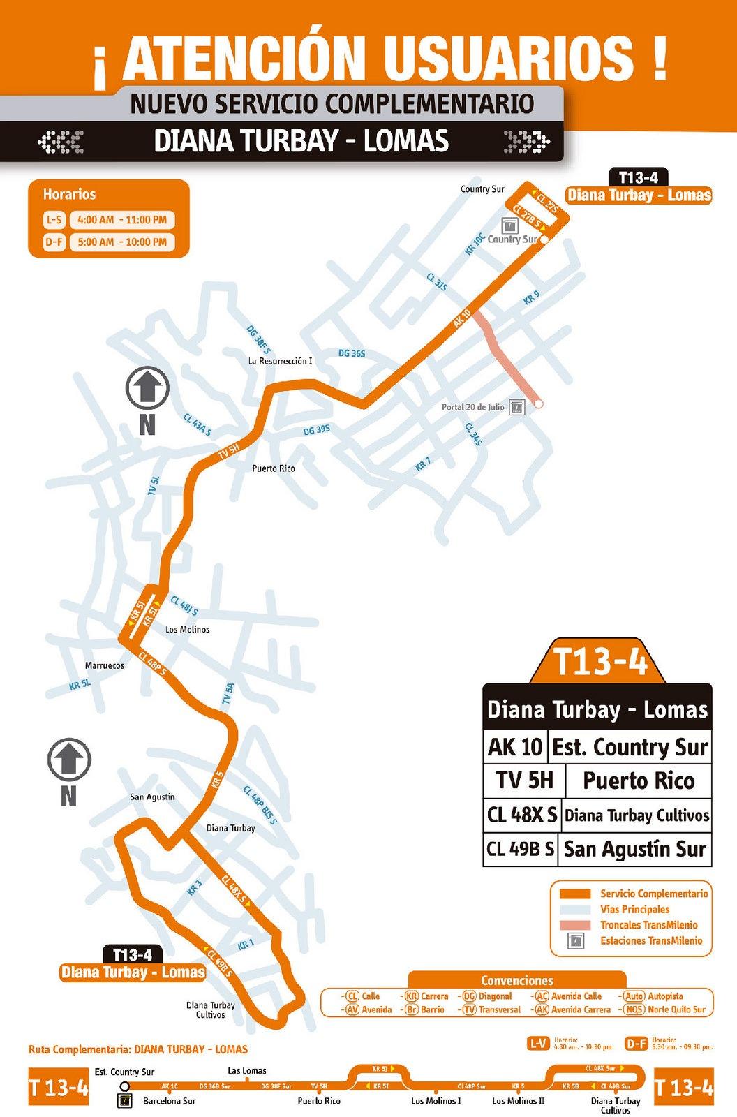 Ruta SITP: T13-4 Diana Turbay - Lomas [Complementaria] 4