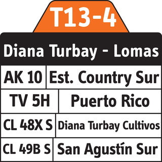 Ruta SITP: T13-4 Diana Turbay - Lomas [Complementaria] 2