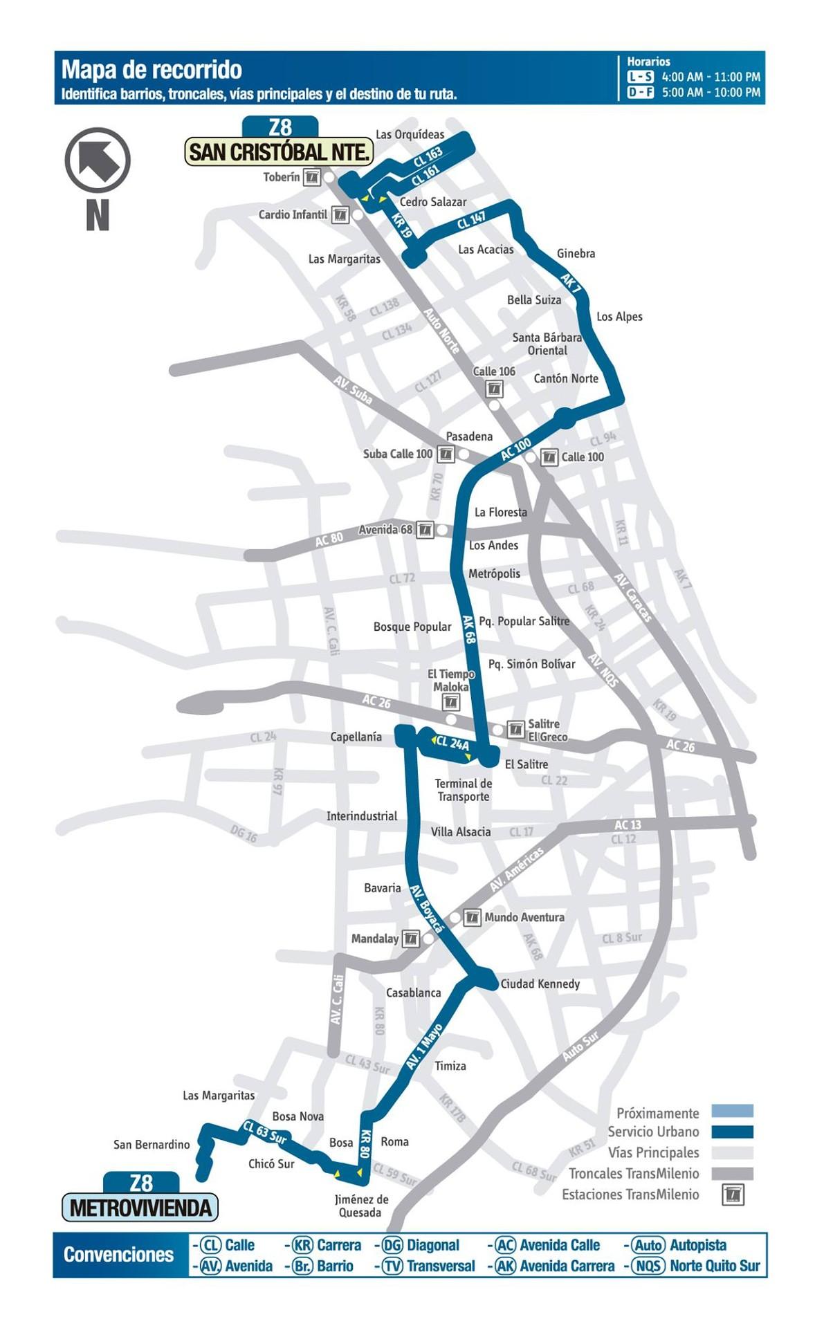 Urbana Z8 modifica parte del recorrido en Usaquén