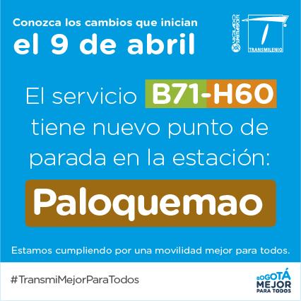 B71-H60 expresos de Transmilenio tienen nuevas paradas 1