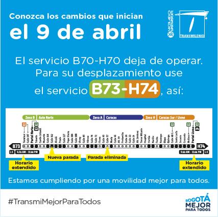 B73 y H74 de Transmilenio con cambios en paradas y horarios 1