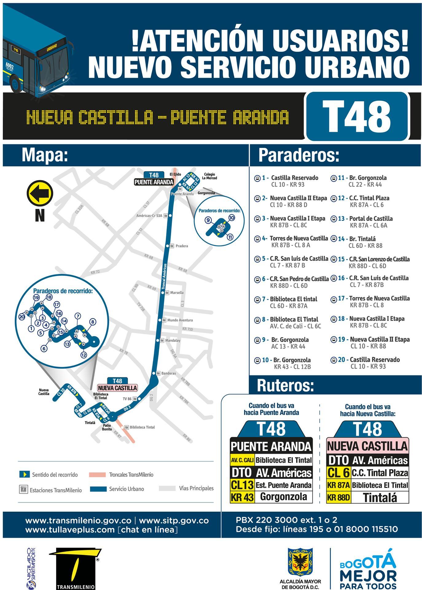Nueva urbana - T48 Nueva Castilla - Puente Aranda