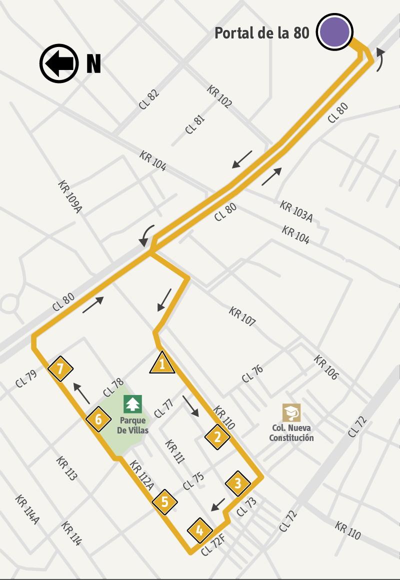 Ruta SITP: 1-3 Villas de Granada [Alimentador]