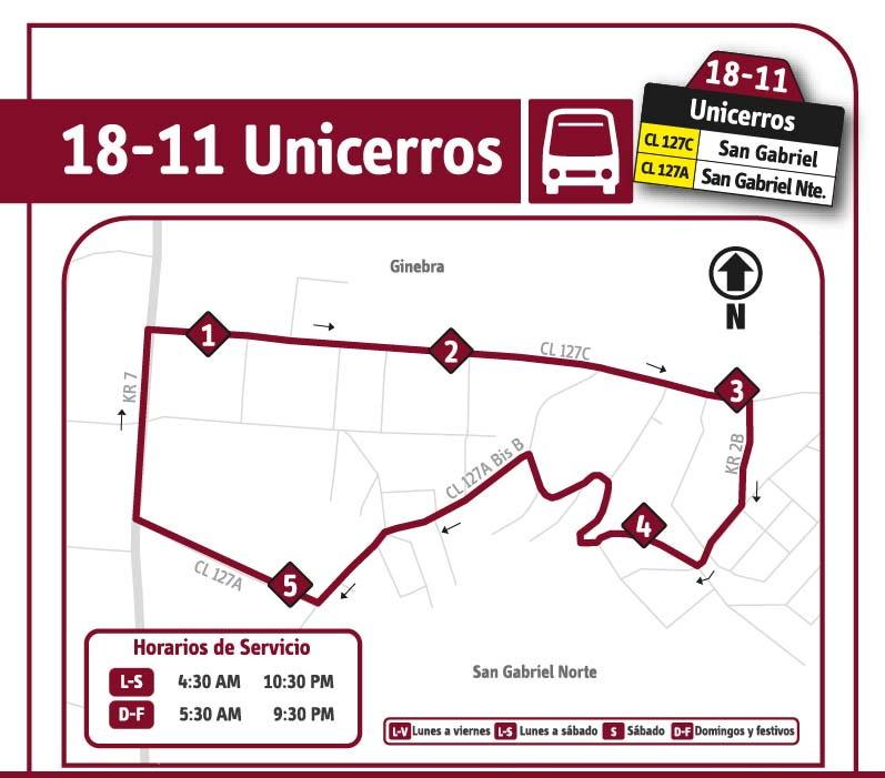 Ruta SITP: 18-11 Unicerros [Especial]