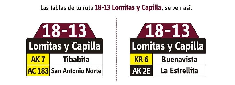 Ruta SITP: 18-13 Lomitas y Capilla [Especial] 2