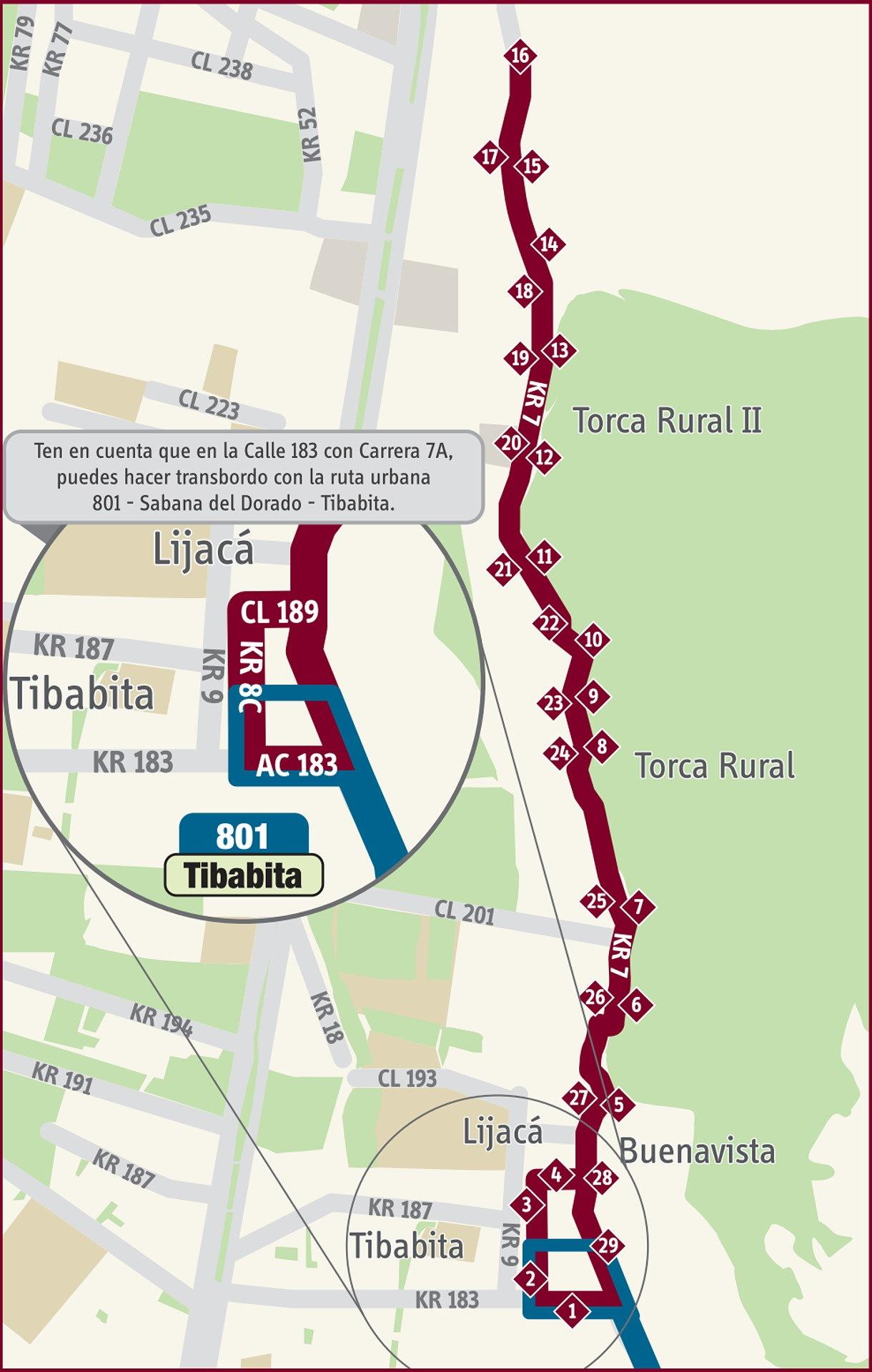 Ruta SITP: 18-14 Torca - Tibabita [Especial]