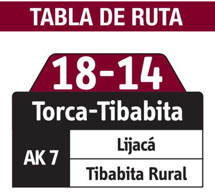 Ruta SITP: 18-14 Torca - Tibabita [Especial] 2
