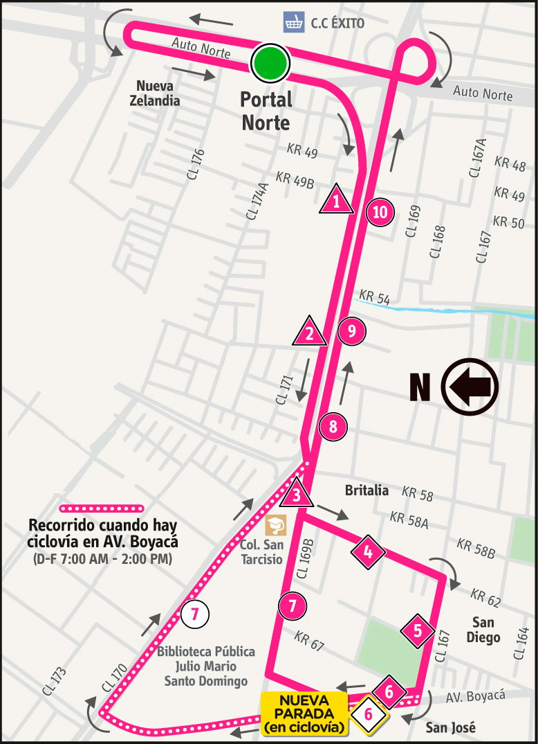 Ruta SITP: Ruta 2-7 ➜ San José [Alimentador]