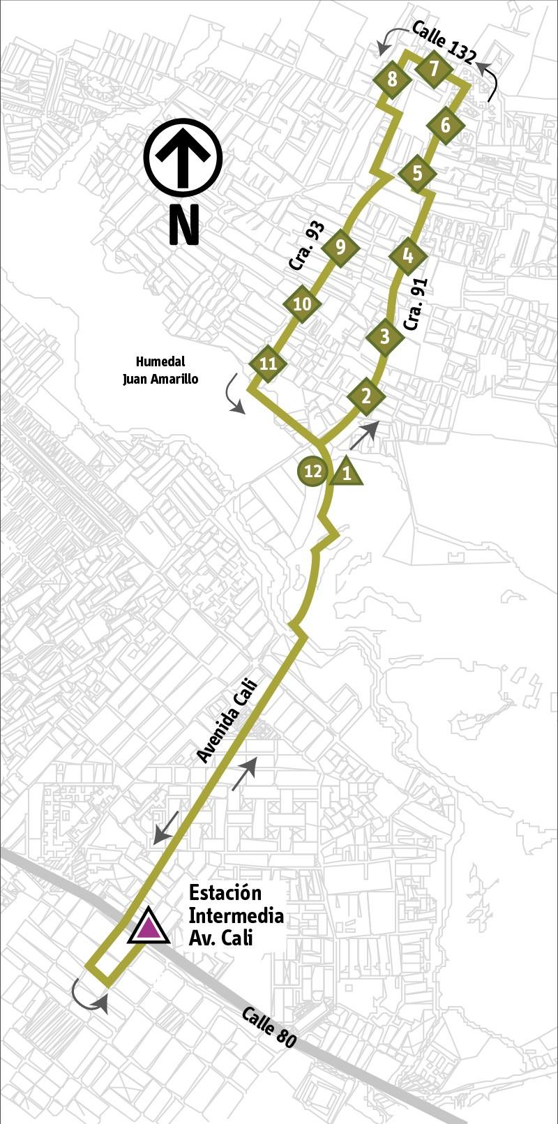 Ruta SITP: 5-2 ➜ Avenida Carrera 91 [Alimentador]