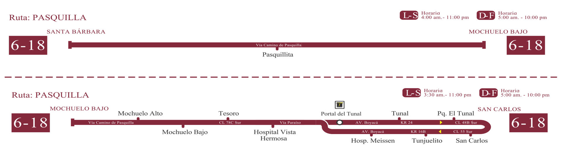 Ruta SITP: 6-18 → Pasquilla [Especial] 3