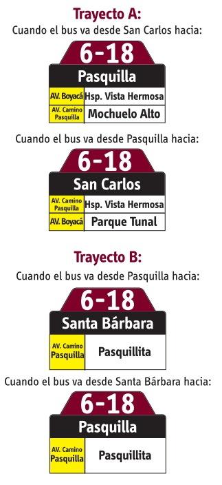Ruta SITP: 6-18 → Pasquilla [Especial] 2