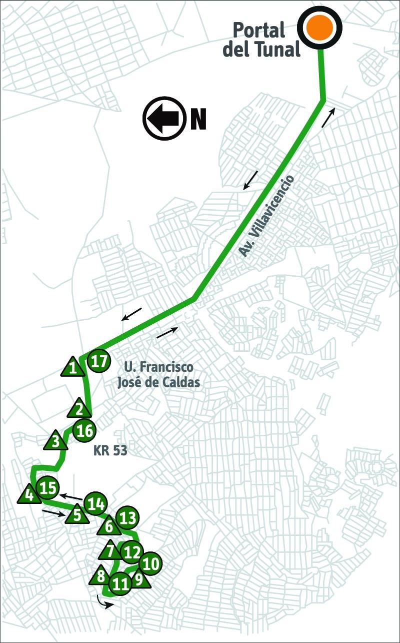 Ruta SITP: 6-3 ➜ Sierra Morena [Alimentador]