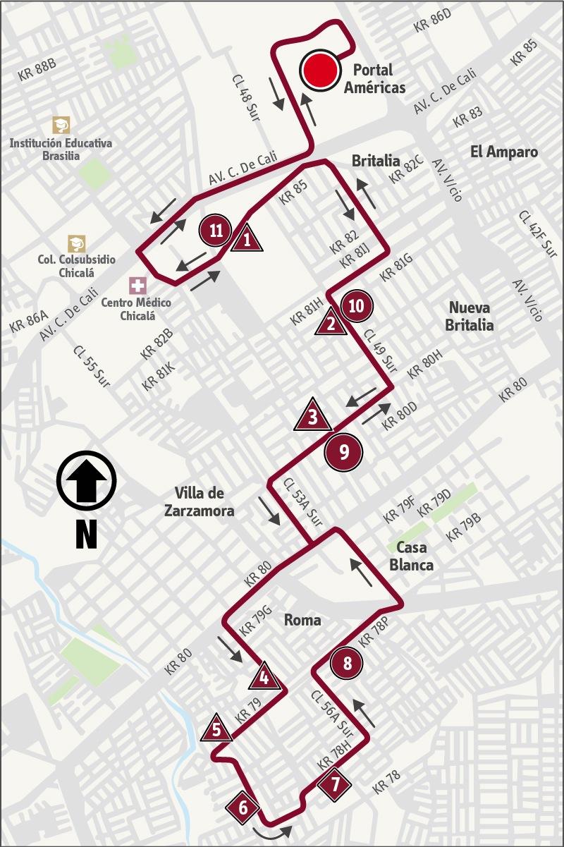 Ruta SITP: 9-10 ➜ Roma [Alimentador]