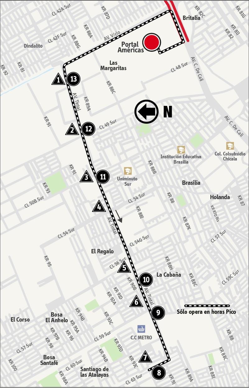 Ruta SITP: 9-5 ➜ Avenida Tintal [Alimentador]