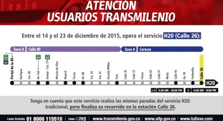 Servicio Eventual H20 Calle 26 De Transmilenio En Navidad Mirutafacil