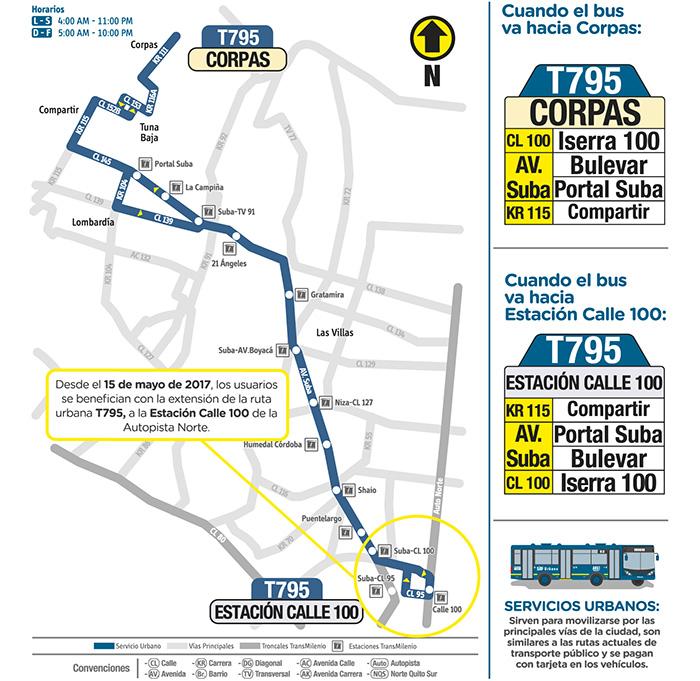 Mapa ruta urbana T795 - Corpas - Estación Calle 100