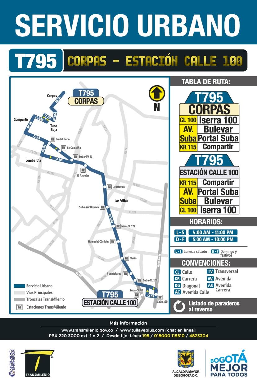 Mapa ruta urbana del SITP - Corpas / Estación TM Calle 100