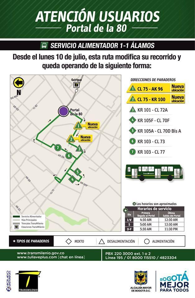 Recorrido ruta alimentadora 1-1 Álamos a partir de julio de 2017