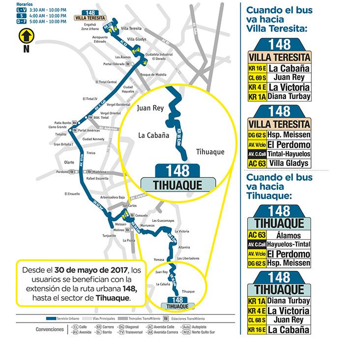 Mapa urbana SITP 148 - cambios en mayo 2017