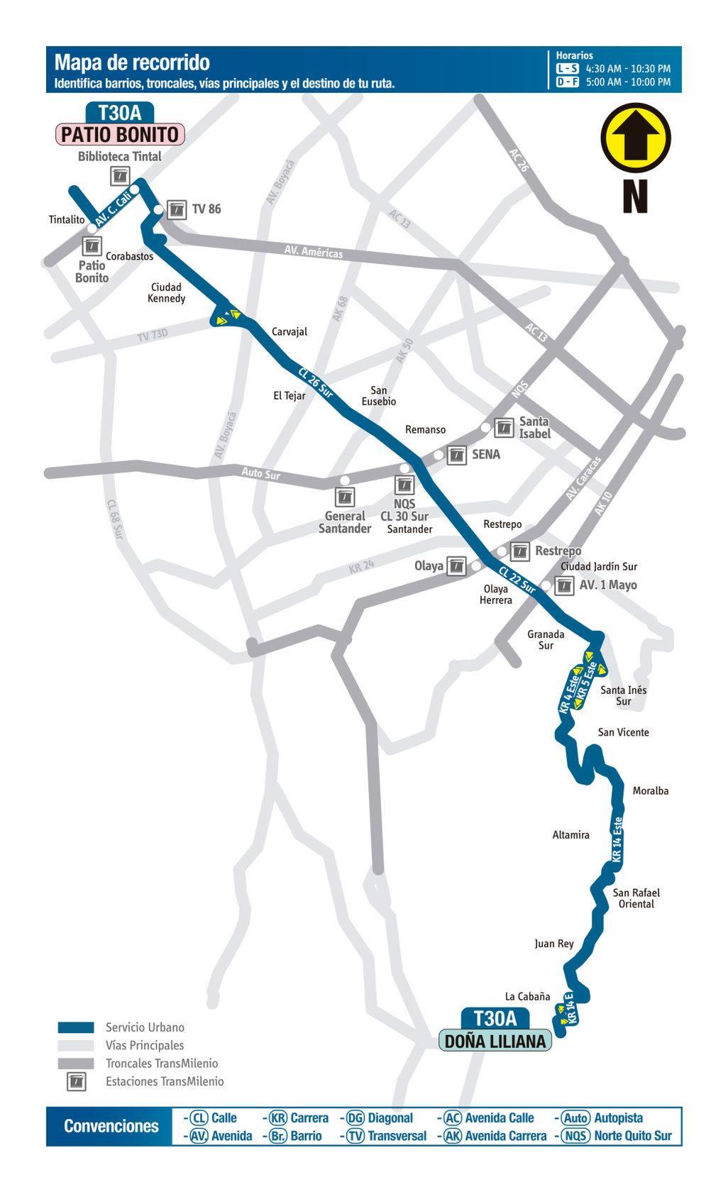 Mapa de la ruta T30 del Sistema Integrado de Transporte Público