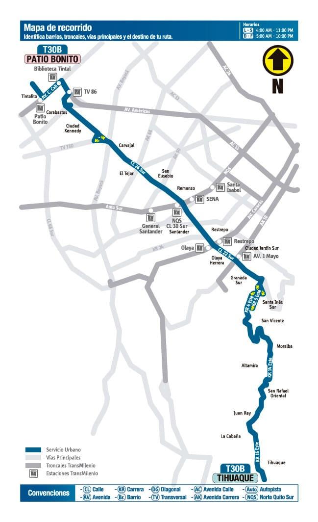 Mapa de la ruta urbana del SITP denominada T30B