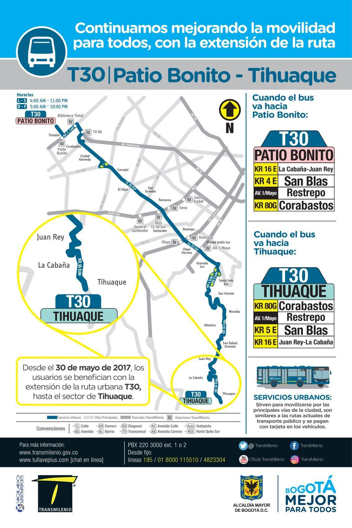 Afiche ruta urbana T30 Patio Bonito - Tihuaque (incluye mapa de ruta)