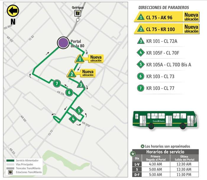 Mapa alimetnador 1-1 de Bogotá