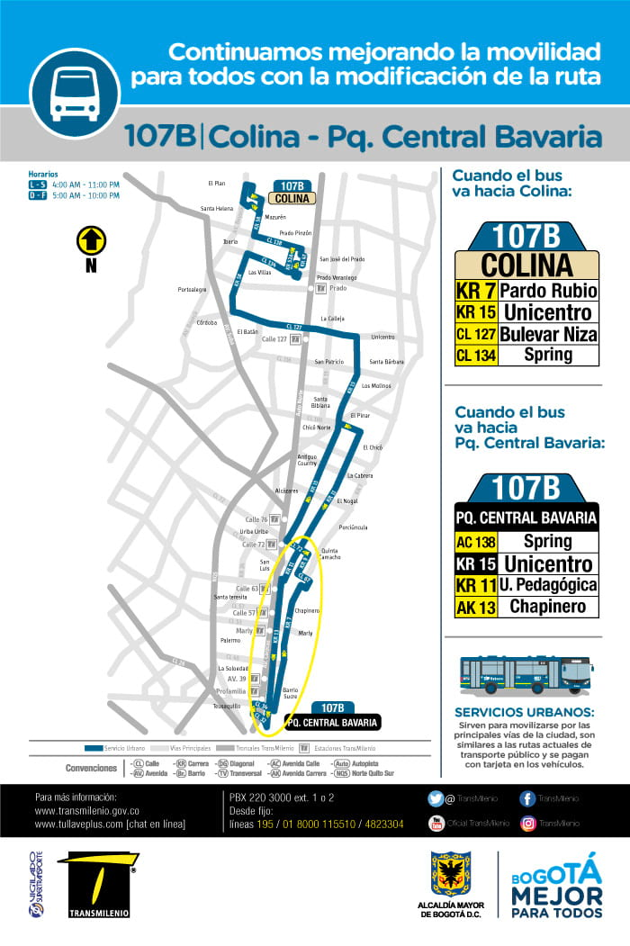 Mapa ruta urbana SITP 107B Colina-Parque Central Bavaria