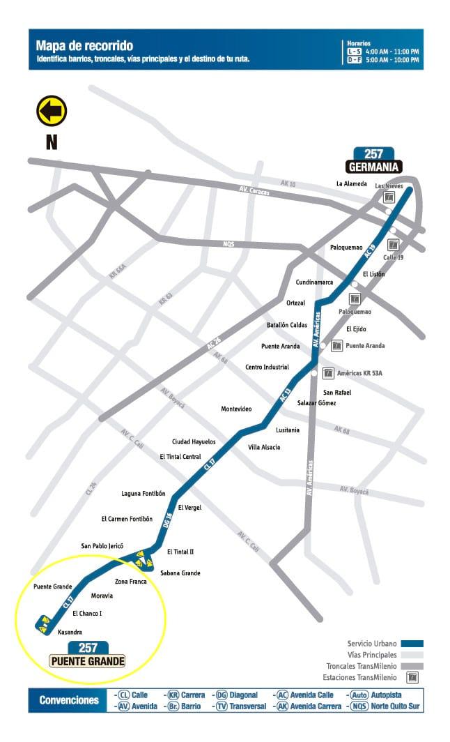 Mapa ruta urbana 257 desde julio de 2017