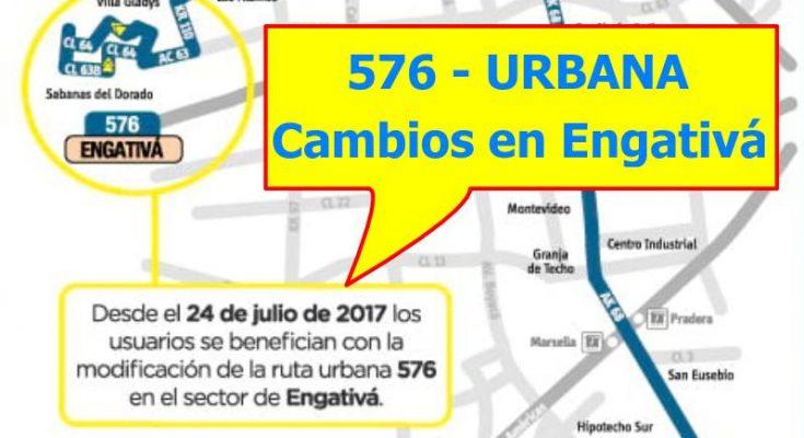 Aviso de cambios en la ruta urbana 576 del SITP