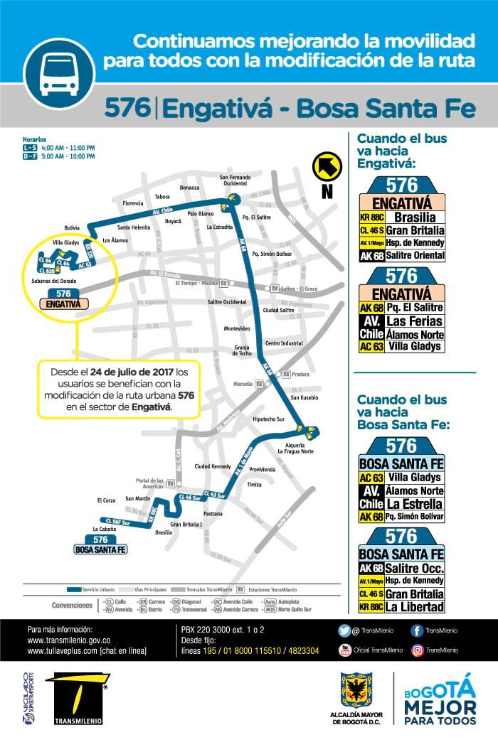 Mapa ruta urbana 576 con detalle de cambios en Engativá