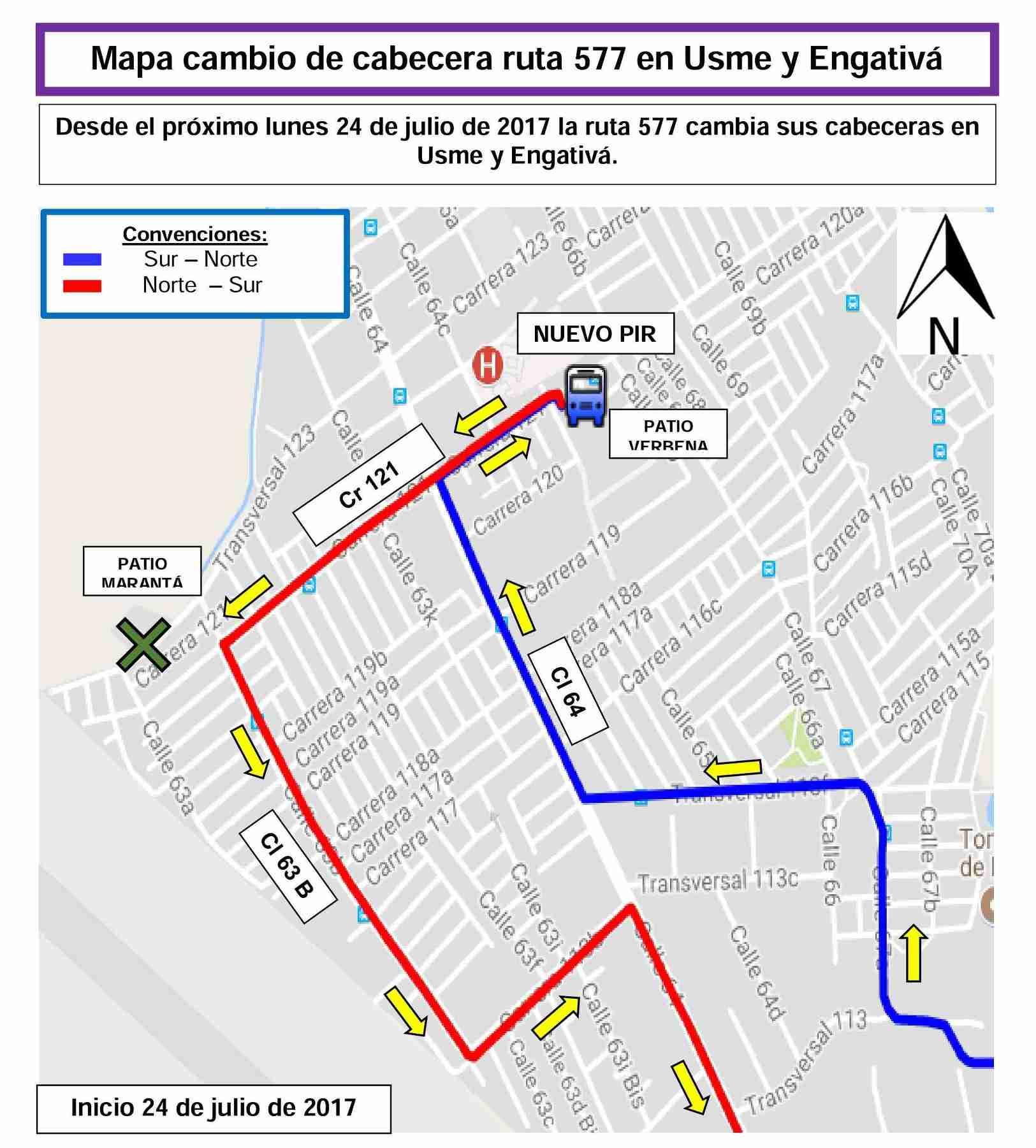 Cambios en la ruta 577 informados por Tranzit (2)