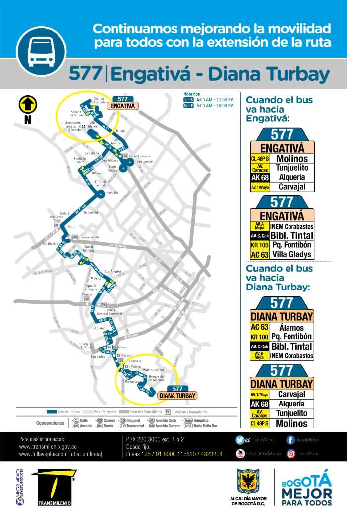Cambios en la ruta 577 urbana, al inicio y fin de recorrido