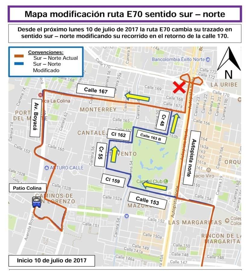 E70 mapa urbano del SITP, Colina-Casaloma Usme