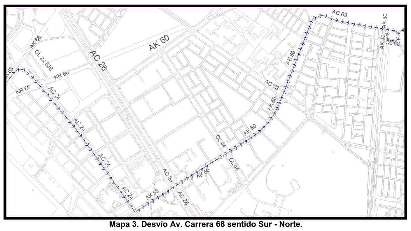 Desvíos Avenida Carrera 68 - EN SENTIDO SUR-NORTE por celebración 20 de julio 2017