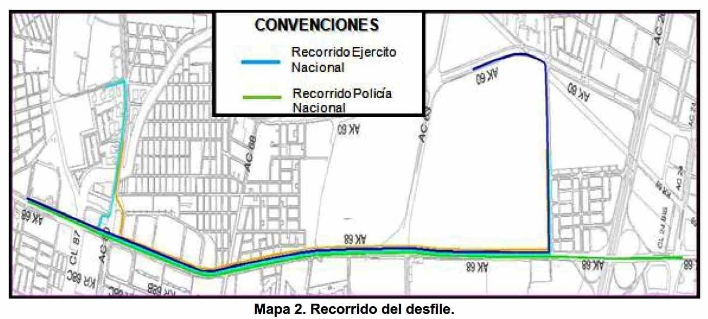 Lugares de paso del Desfile de Tropas el 20 de julio de 2017