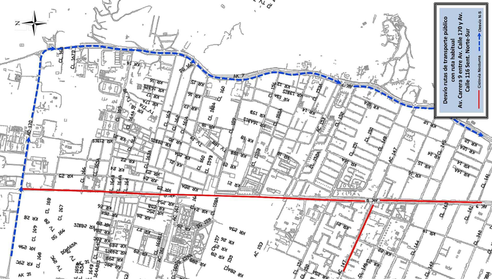 Mapa 5 - desvíos - ciclovía nocturna