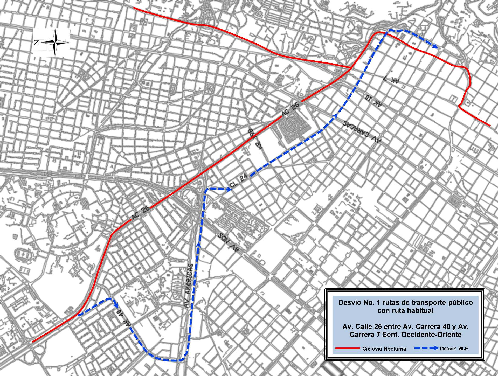 Mapa 7 - desvíos - ciclovía nocturna