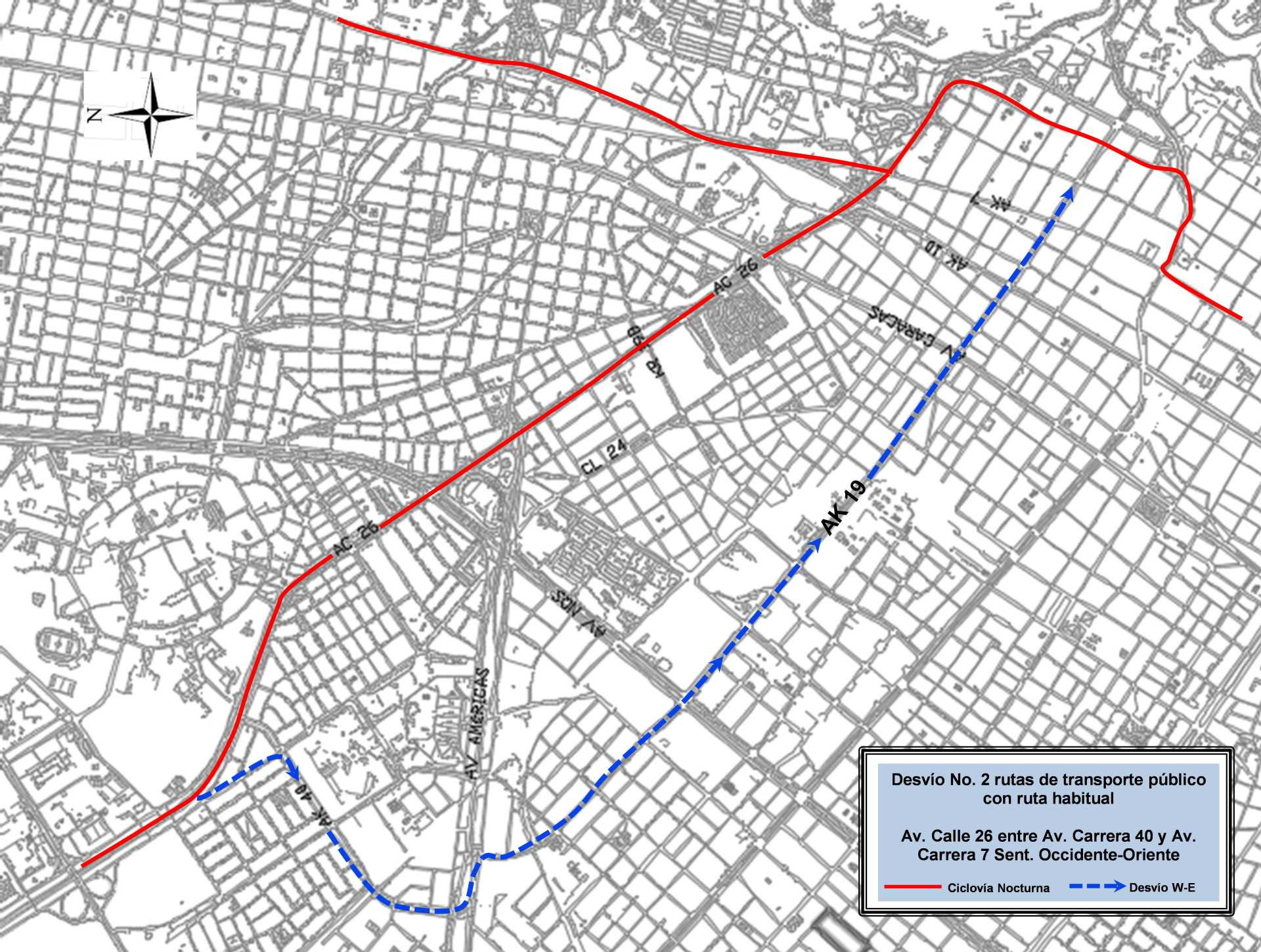 Mapa 8 - desvíos - ciclovía nocturna