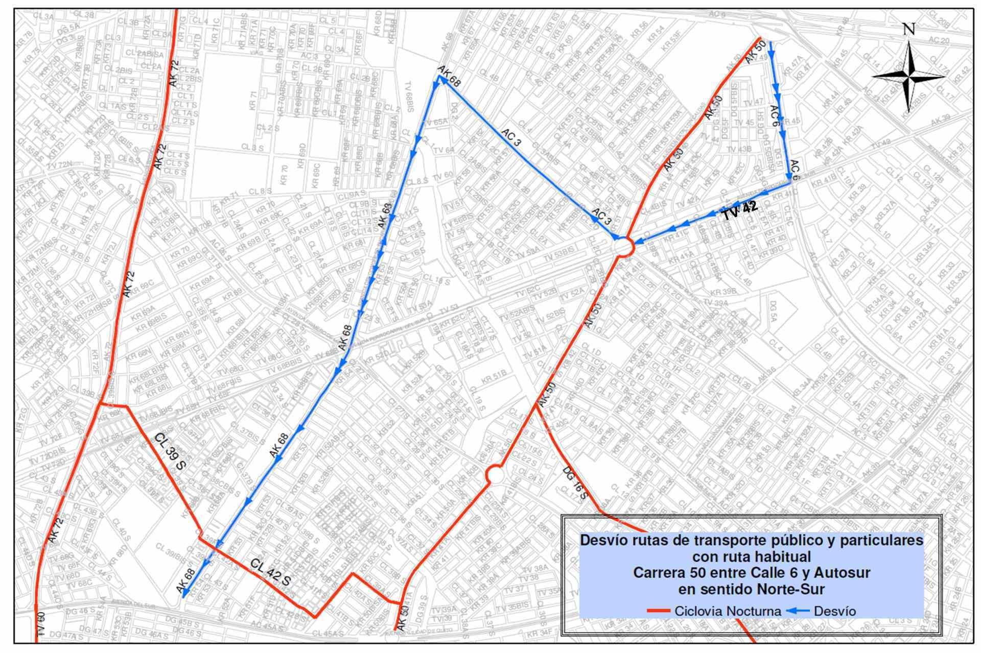 Mapa 12 - desvíos - ciclovía nocturna