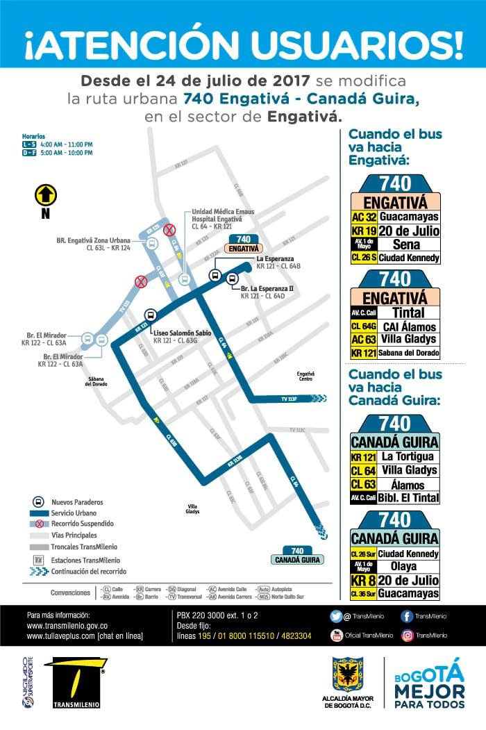 Mapa de la ruta urbana 740 desde julio 2017