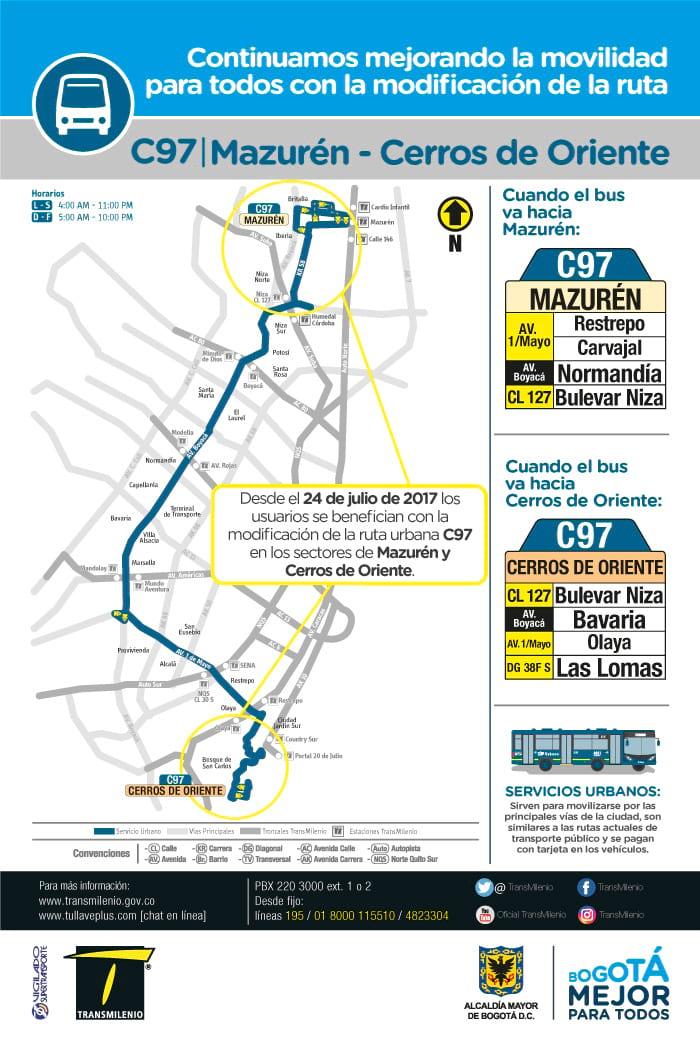 Mapa de la ruta urbana C97, nuevos destinos desde julio 2017