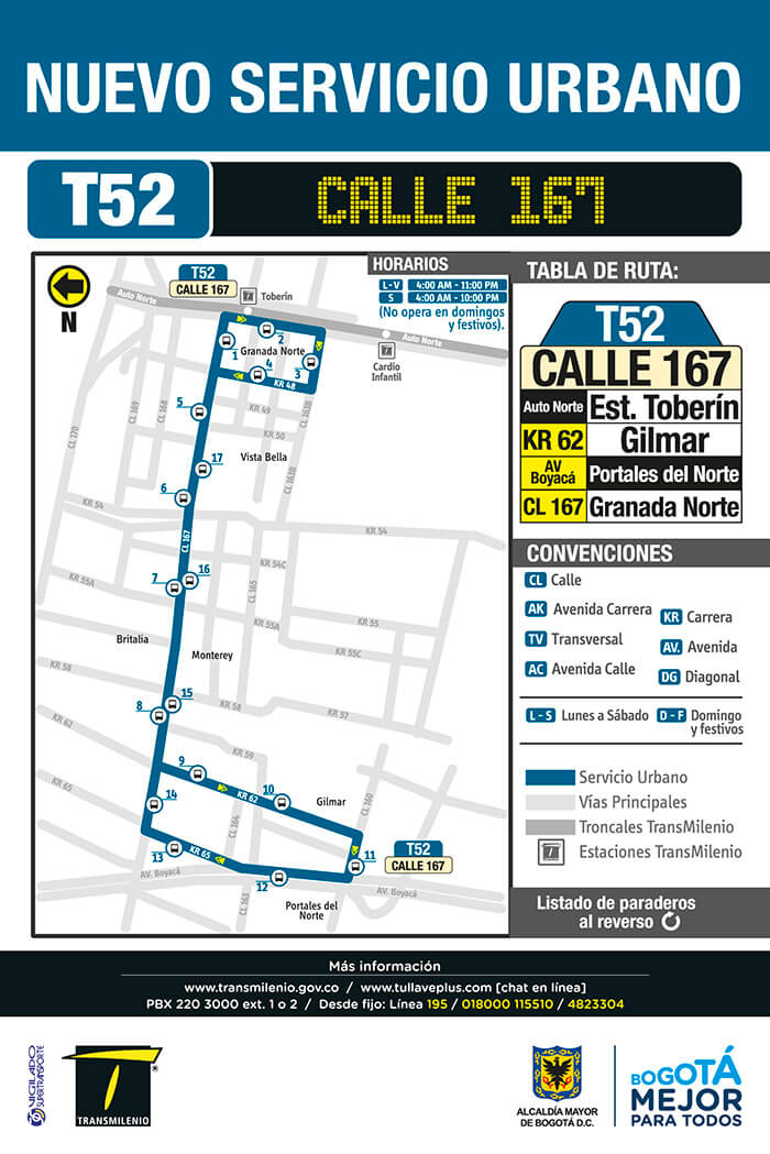 T52 - Mapa de la ruta urbana, Toberín hasta Avenida Boyacá