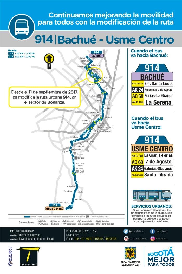 Ruta urbana 914 Bachué - Usme Centro