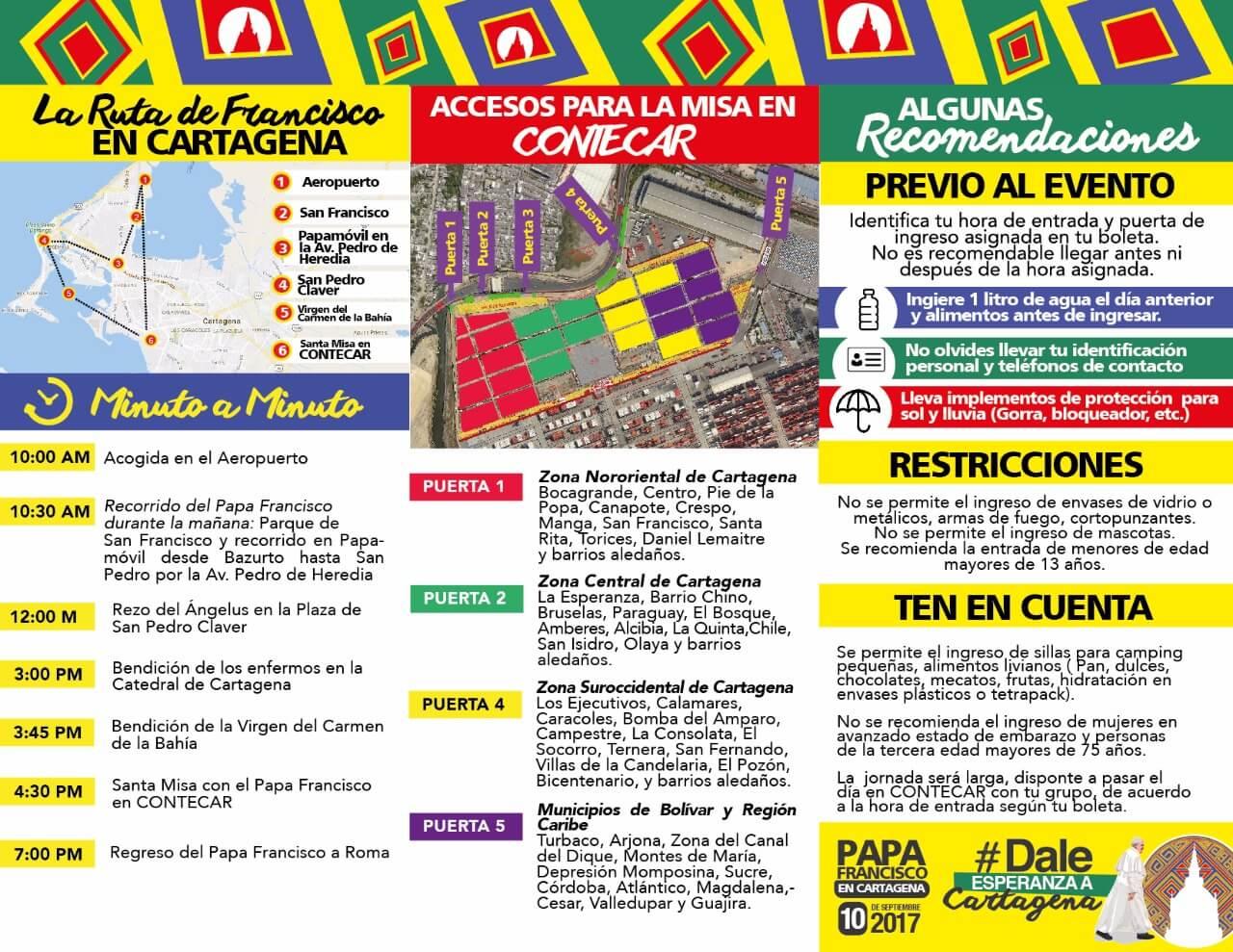 Cartagena visita del Papa Francisco - tríptico informativo