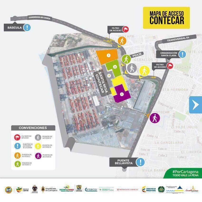 Visita del Papa Francisco a Cartagena - Plano de ubicación de Misa Papal