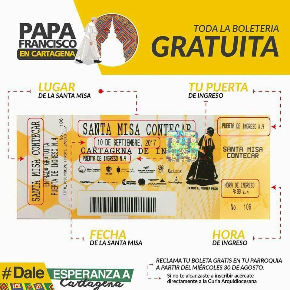 Visita del Papa Francisco a Cartagena - Pases de entrada, cómo se muestran