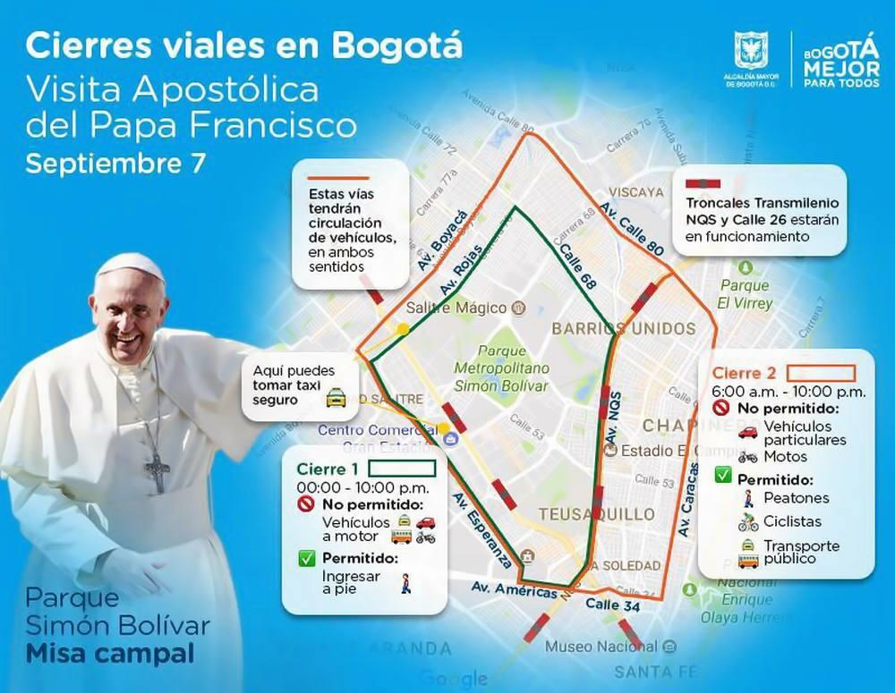 Cierres viales visita Papa Francisco a Bogotá