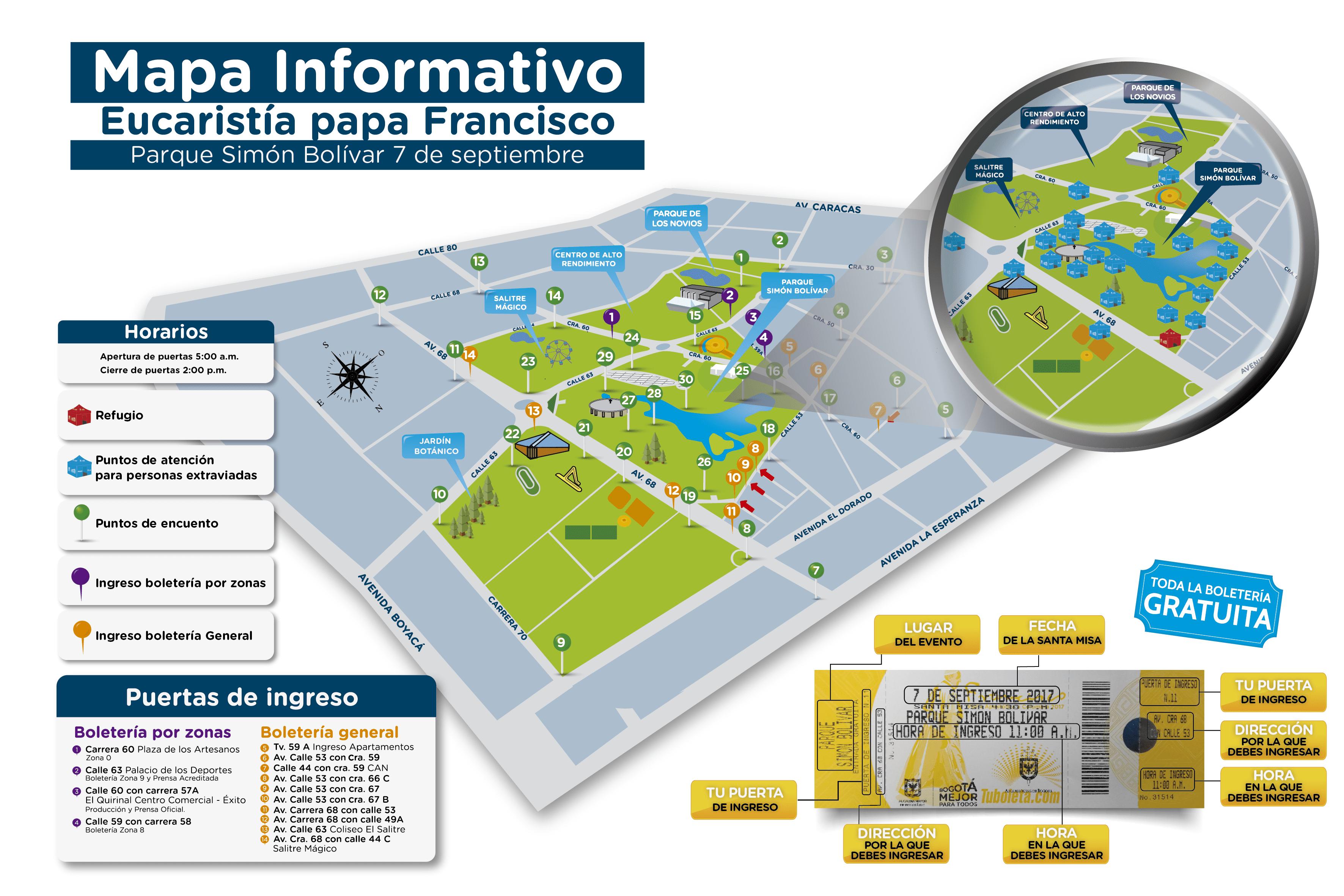 Mapa del Simón Bolívar y acceso a la Misa del Papa Francisco