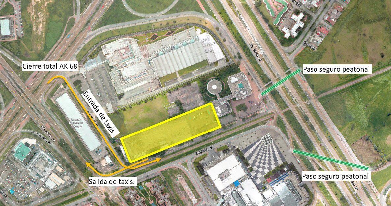 Zona amarilla en Carrera 66 entre Calle 26 y Avenida de La Esperanza